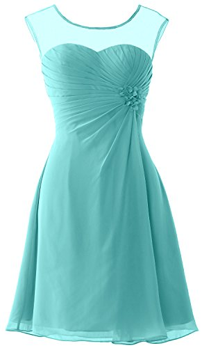 MACloth Women Short Bridesmaid Dress Cap Sleeve Cocktail Party Formal Gown Turquoise
