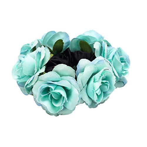 Bismarckbeer Haargummi mit Rosen-Blume, elastisch, für Damen, für Hochzeit, Party, Haarschmuck - Rose Haargummi