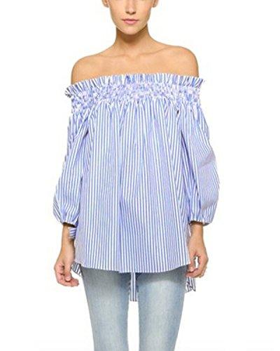 ZANZEA Damen Schulterfrei 3/4 Arm Freizeit Party Strand Lose Tops Shirt Bluse Blau Streifen EU 34-36/Etikettgröße S
