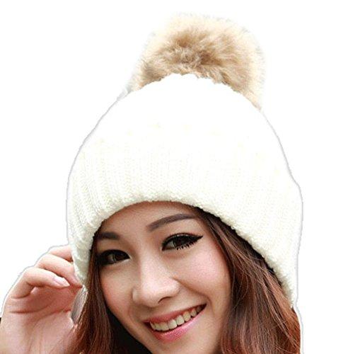 Tefamore Sombrero de las mujeres Invierno Bolso de piel de gallo caliente Gorro de lana de punto (Tamaño: Un tamaño cabido todo, Blanco)