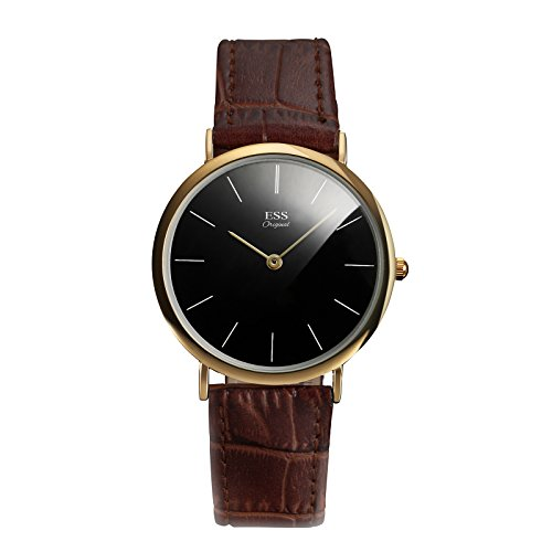 ESS Herren Lederarmband Uhren Quarz Uhren schwarz Zifferblatt dünn golden