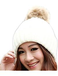 Tefamore Sombrero de las mujeres Invierno Bolso de piel de gallo caliente  Gorro de… d877100aa42