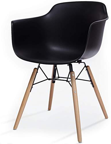 LTD Edition Living Flex esszimmerstühle - schwarz - mit armlehne | Mid Century Design | Kunststoff...