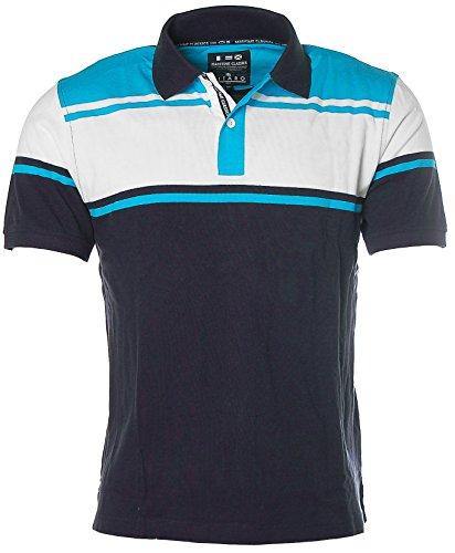 Kitaro Herren Kurzarm Shirt Polokragen Poloshirt Pikee Club de Vela Horizont Blue