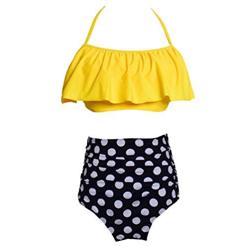 JEELINBORE Traje de Baño de Dos Piezas Bañador Cintura Alta Estampado Push Up Bikini Monokini Madre...