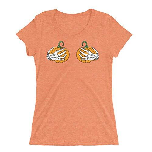 Frauen Halloween T-Shirt mit Kürbis und Skelett Händen Kurzarm Rundhals Funny Tees