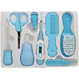 JSR BROTHERS Baby Grooming Essentials Combo (Comb & Brush, Nail Clipper & Scissors, Nose Cleaner & Picker, Digital Thermometer) PACK OF 8 (BLUE)