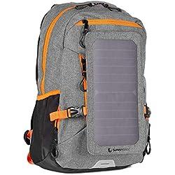 SunnyBAG Explorer+ Sac à Dos pour Ordinateur Portable Panneau Solaire Amovible 6Watts Port de Charge USB Énergie Solaire - Gris-Orange