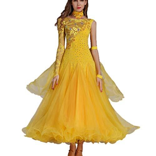 Tanzsport Kostüm Standard - LRR Walzer Ballroom Dance Competition Kleid Für Frauen Spitzenärmel, National Standard Dance Performance Kostüme Mit Strass (Farbe : Gelb, größe : S)