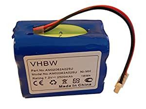 vhbw NiMH Batterie 2500mAh (7.2V) pour Aspirateur Dirt Devil Evo M678, Mint 4200, Mint Plus 5200 comme GPHC152M07.