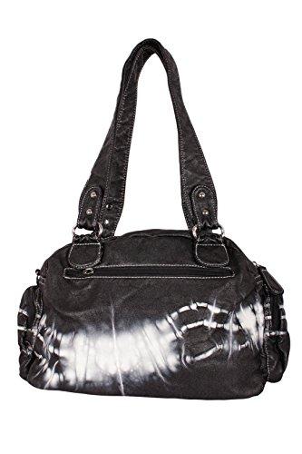 Gabaara Damen Handtasche Schultertasche Bag Batik Look Viele Fächer Schwarz
