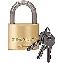 Stanley S742-031 - Candado de latón macizo con arco estándar, 3 llaves (40 mm )