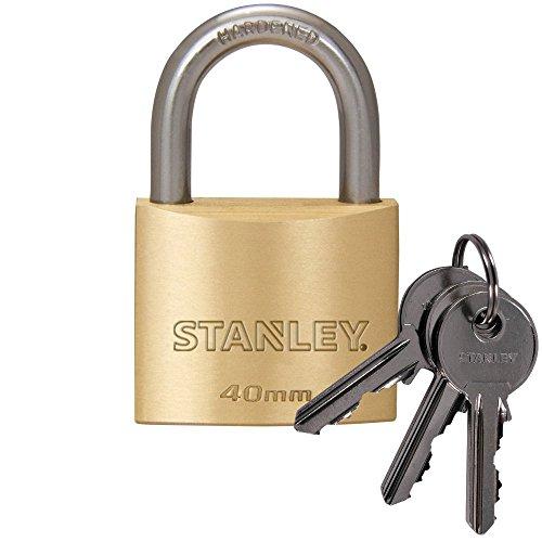 STANLEY Solid Brass Vorhangschloss 40 mm mit Standard-Bügel, 2 Schlüssel, S742-031, Schloss, Bügelschloss