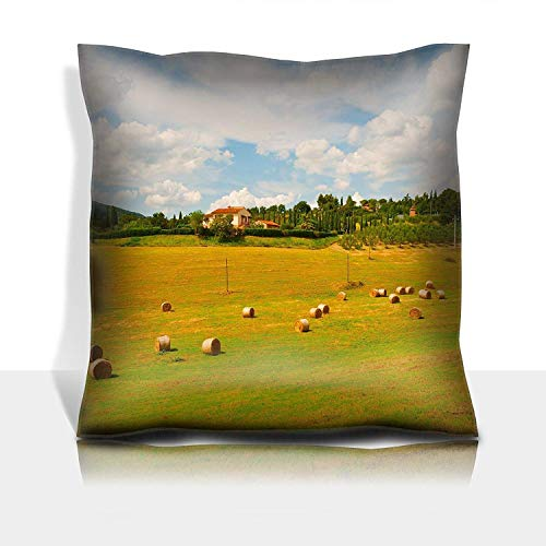 MSGDF Throw Pillowcase Cotton Satin Comfortable Decorative Soft Pillow Covers Protector Sofa 18x18 1 Pack Italy Landscape with Many Hay Bales -