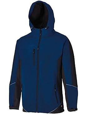 Dickies - Chaqueta (tejido softshell impermeable, con capucha), diseño bicolor, azul, JW7010