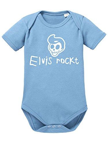 clothinx Baby Body Unisex Elvis rockt Himmelblau/Weiß Größe 62-68