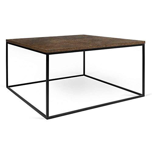 Tema Home Table Basse carrée Gleam 50 Plateau Design Rustique Structure laquée Noir Mat