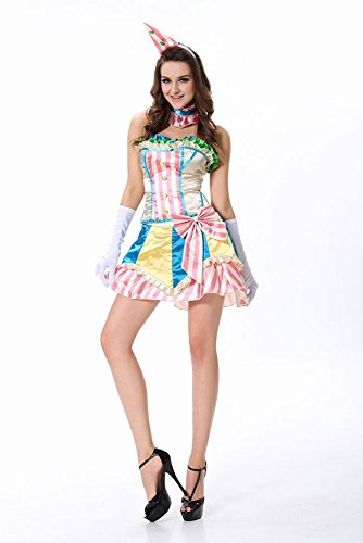 Sexy Damen-Kostüm Candy Clown Clownskostüm Harlekin Gr. S