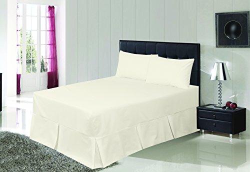 Spannbetttuch mit Kellerfalten Volant Premium Qualität unifarben Polyester-Baumwoll-Bettwäsche, cremefarben, 200 x 150 x 40 cm