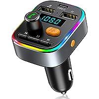 Bovon Transmisor FM Bluetooth Coche, [Carga Tipo C] [8 LED con Retroiluminación] Manos Libres Bluetooth, Transmisor FM con Sonido de Graves Profundos y 2 Puertos USB, Soporte para Tarjeta U-Disk/TF