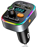 Bovon Bluetooth FM Transmitter Auto, [TYP-C-Laden] [mit Bass Sound] Bluetooth Adapter Auto Radio Transmitter mit Freisprecheinrichtung & 2 USB-Ports, [8 LED Backlit], Unterstützt USB-Stick/TF Karte
