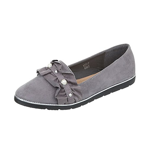 Ital-Design Chaussures Femme Mocassins Plat Slippers gris 127-7