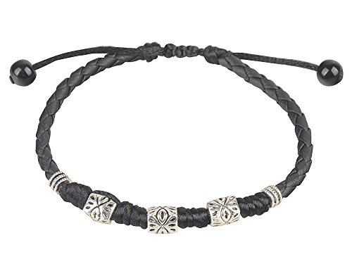 Tobillera de piel negra ajustable, hecha a mano, de la antigua tribu