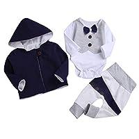Newbron Infant Baby Boys' 3 Piece Pant,Bodysuit,Coat Outfit Set (Navy Blue, 90(For6-12Months))
