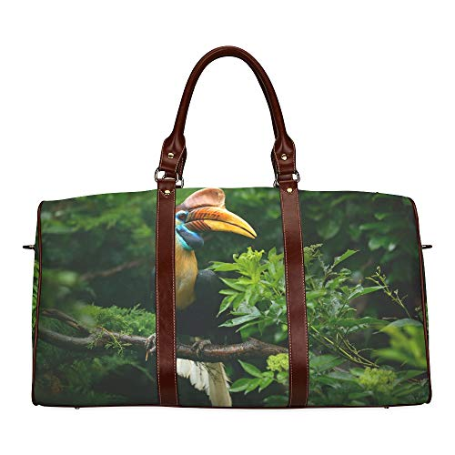 Reise-Seesack-Nahaufnahme-Porträt eines Hornbill-Vogels wasserdichte Weekender-Tasche Tragetasche über Nacht Frauen-Damen-Einkaufstasche mit Mikrofaser-Leder-Gepäcktasche -