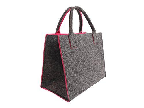 CB Home & Style Filztasche Einkaufstasche Tasche Shopper ca. 35 x 20 x 28 cm (Anthrazit-Pink)