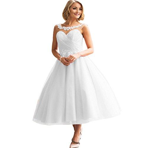 CLLA dress Damen Tüll Abendkleider Prinzessin Brautkleid Brautjungfer Kleider Ballkleid für Hochzeit(Weiß,52) (Kleid Cinderella Handgefertigtes)