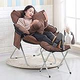 AXIANQI Nuovo Lettino per Il Tempo Libero A Casa in Pelle Velluto per Il Tempo Libero Poltrona Lazy Chair per Esterno Portatile Pieghevole in Alluminio Moon Chair75 * 75 * 85CM A