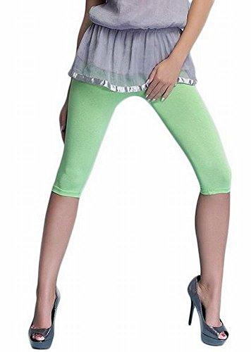 Lot de 2 leggings de sport en coton longueur 3/4, 16 différentes couleurs Vert clair