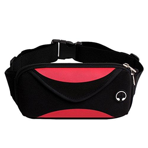 Dabixx Riñonera, Hombres Mujeres Riñonera Deportiva Fanny Pack Cordón Auricular Riñonera Riñonera Travel Bag Rojo