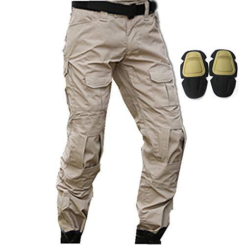 haoYK Pantaloni Tattici di Paintball BDU Militare Pantaloni Airsoft Pantaloni da Lavoro Multiplo con Ginocchiera (L (34'), Cachi)