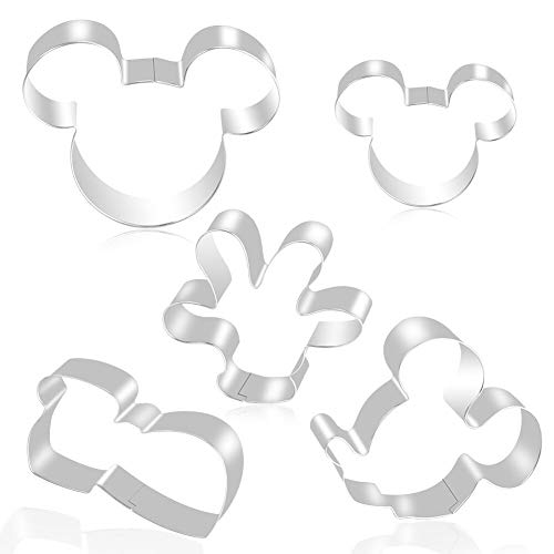 FHzytg 5 Stück Mickey Mouse Ausstecher, Edelstahl Keksausstecher Disney, Minnie Mouse Keksausstecher, Fondant Schuhe, Micky Maus Ausstechformen für Kinder, Ausstecher Mickey Maus Keks