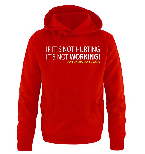 Comedy Shirts - IF IT'S NOT HURTING... - Uomo Hoodie cappuccio sweater - taglia S-XXL different colors rosso / bianco-giallo