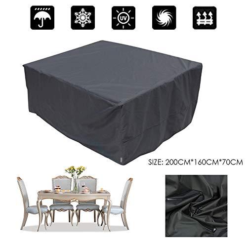Copertura tavolo da giardino bolerton, copertina protettiva impermeabile traspirante anti-polvere per mobili da giardino, tavoli da giardino mobili, set di sedute rettangolari, 200 x 160 x 70cm