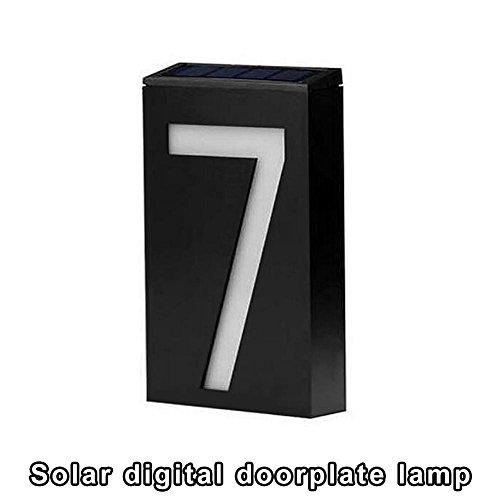 Información sobre el producto: 1. Nombre: lámpara de puerta digital solar. 2. Material: ABS y policarbonato. Número de LED: 6. 4. Tiempo de carga: 6 horas. 5. Horas de trabajo: > 8 horas. 6. Impermeabilidad: IP55. 7. Modo de trabajo: control ma...