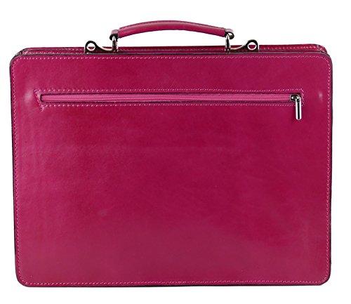 College Tasche Aktenkoffer Schule Tasche Lehrer Tasche Messenger Leder Tasche Vintage Rot, Farbe:Grün Pink