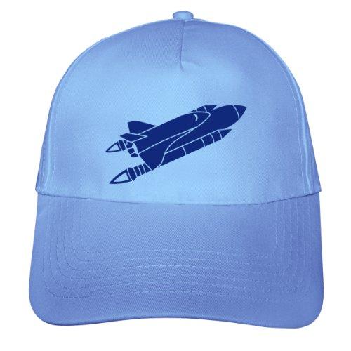plot4u Space Shuttle Kinder Kappe Raketen Cap Beechfield Junior Original 5 Panel Cap OneSize hellblau/königsblau (Cap-rakete)