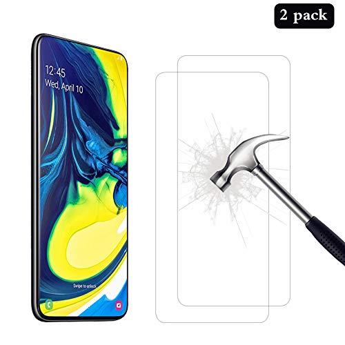 AhaSky [2-stukken gehard glas compatibel met Samsung Galaxy A80 / A90 beschermfolie, gehard glasfolie schermbeschermer, 9H ultrabestendige hardheid [Anti-kras / olie / vingerafdruk]