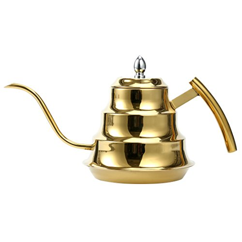 Luxus yaekoo 1.2L Edelstahl Kaffee Drip Wasserkocher, Schwanenhals Edelstahl drip Pot für Kaffee und Tee (Gold) (Gas-herd-kaffee-topf)