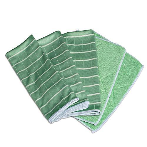 Greenshop24 Geschirrtücher und Reinigungstücher Bambus antibakteriell, 5 Tücher im Set, grün, für Küche und Haushalt, zum Reinigen von Oberflächen, Gläser, Fenster und Spiegel, streifenfreier