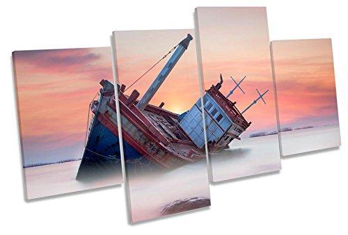 Canvas Geeks Leinwandbild, Motiv: Strandboot, Sonnenuntergang, Mehrfarbig, 200cm Wide x 113cm high