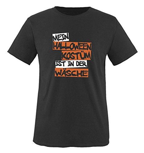 Comedy Shirts - MEIN HALLOWEEN KOSTÜM IST IN DER WÄSCHE TEXT -Herren T-Shirt in Schwarz / Weiss-Orange Gr. (2 College Halloween Kostüme Jungs)