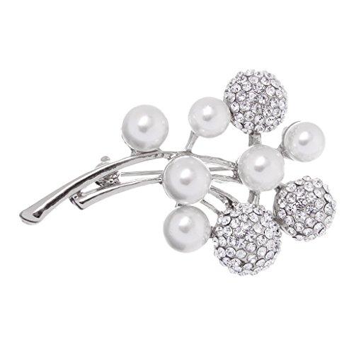Damen Modeschmuck Brosche Anstecknadel Strass Perlen Pin Perlenbrosche Schmuck - Silber Kugeln , L