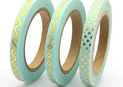 Set von 3dünn Rollen Aqua Blau Craft Washi Tape. Skinny Planer Abdeckband