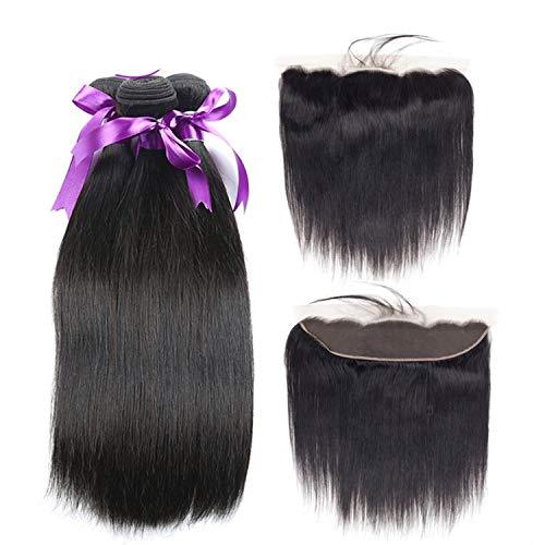 Farbe Menschlichen Haar Perücke (Natürliche Haarteile Brasilianisches glattes Haar 3 Bundles mit 13 * 4 Spitze frontal Verschluss Nicht remy natürliche Farbe 100 menschliches Haar weben haarverlängerung Perücken)