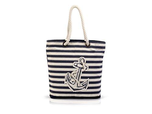 LED Universum Shopper Damen Henkeltasche - Navy Stripes - Lange Henkel Schultertasche - Top-Handle Bag - für Picknick Strand Canvas - hochwertig und modisch schick -